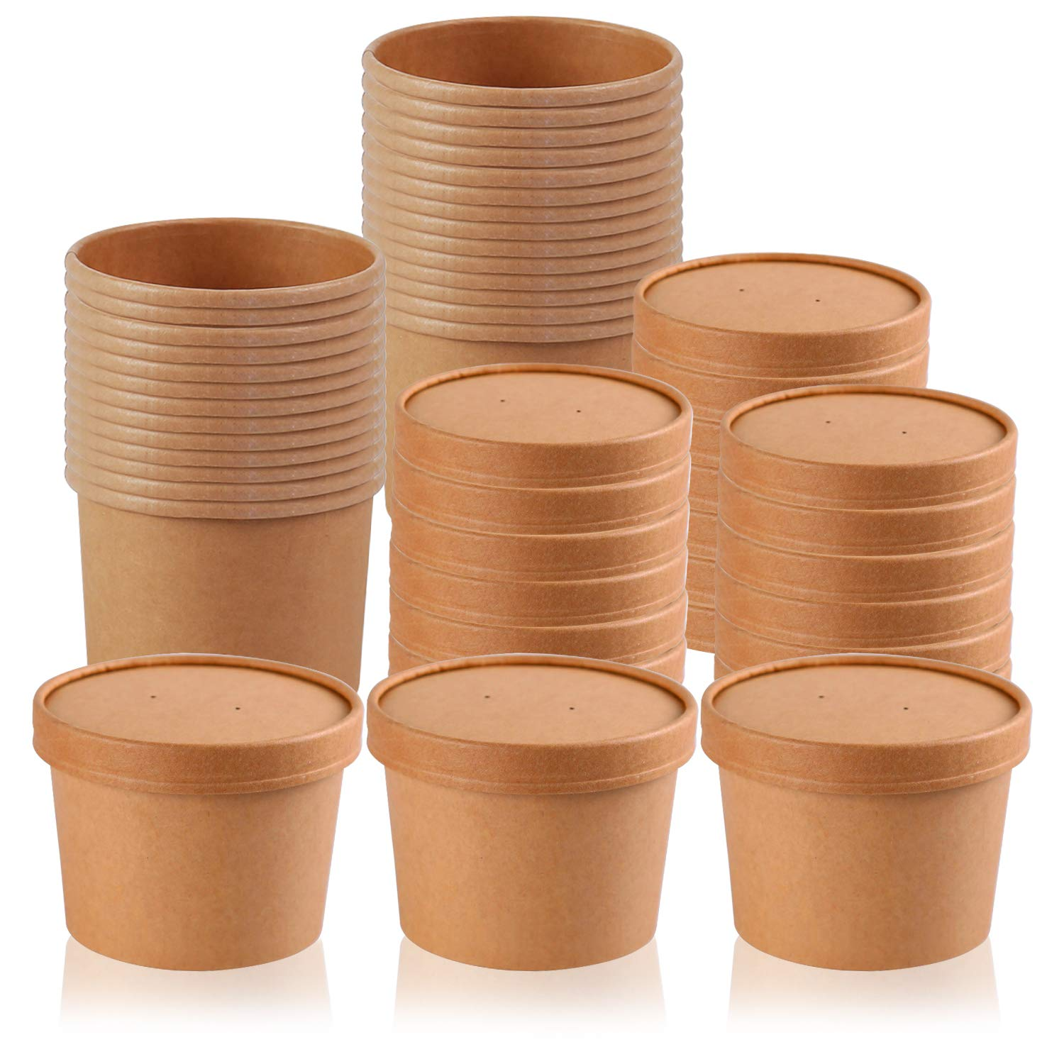 30 Pack 12oz Kraft Compostable Paper Food Cups, Lainrrew Microwavable Soup Cups with Lids Disposable to Go Containers for Restaurants, Delis, Cafes