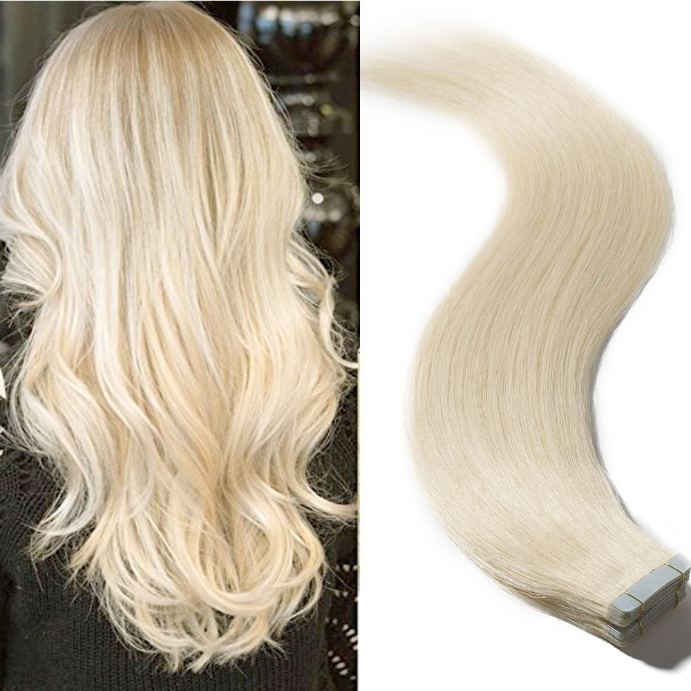Top Quality 16'' 18'' 20'' 22'' Double Side Skin Tape 100% Remy Human Hair Tape in Hair Extensions 20pcs 50g per pack (22'', 60 Platinum Blonde) by S-noilite