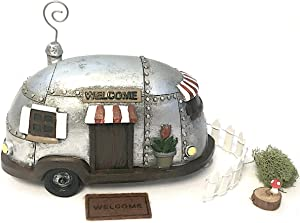 Snickerdoodle Smalls Fairy Garden Camper Trailer with White Picket Fence, Welcome Mat and Accessories