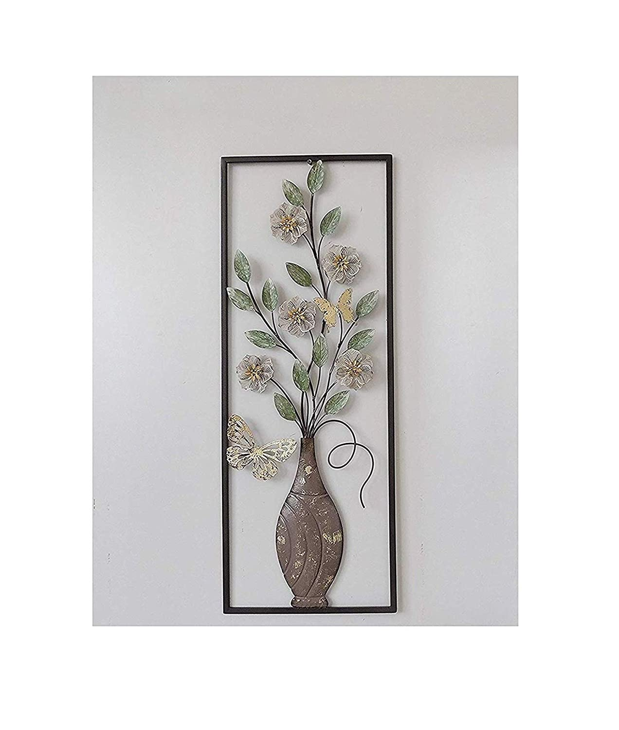 """All American Collection New Modern Chic Aluminum/Metal Wall Decor Frame 12""""x30"""" (Flower Vase Butterfly)"""