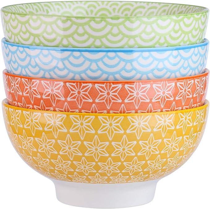 vancasso Natsuki Cuenco de Porcelana de 4 Piezas, Cuencos de Cereal Ø 15.2 cm, Multicolor, Cuencos de Postre Cuenco de Ensalada