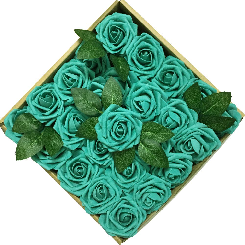 Jing-Rise 50PCS Fake Roses Real Looking Artificial Flowers For DIY Wedding Bouquets Centerpieces Baby Shower Party Home Office Shop Hotel Supermarket Decorations (Aqua Green)