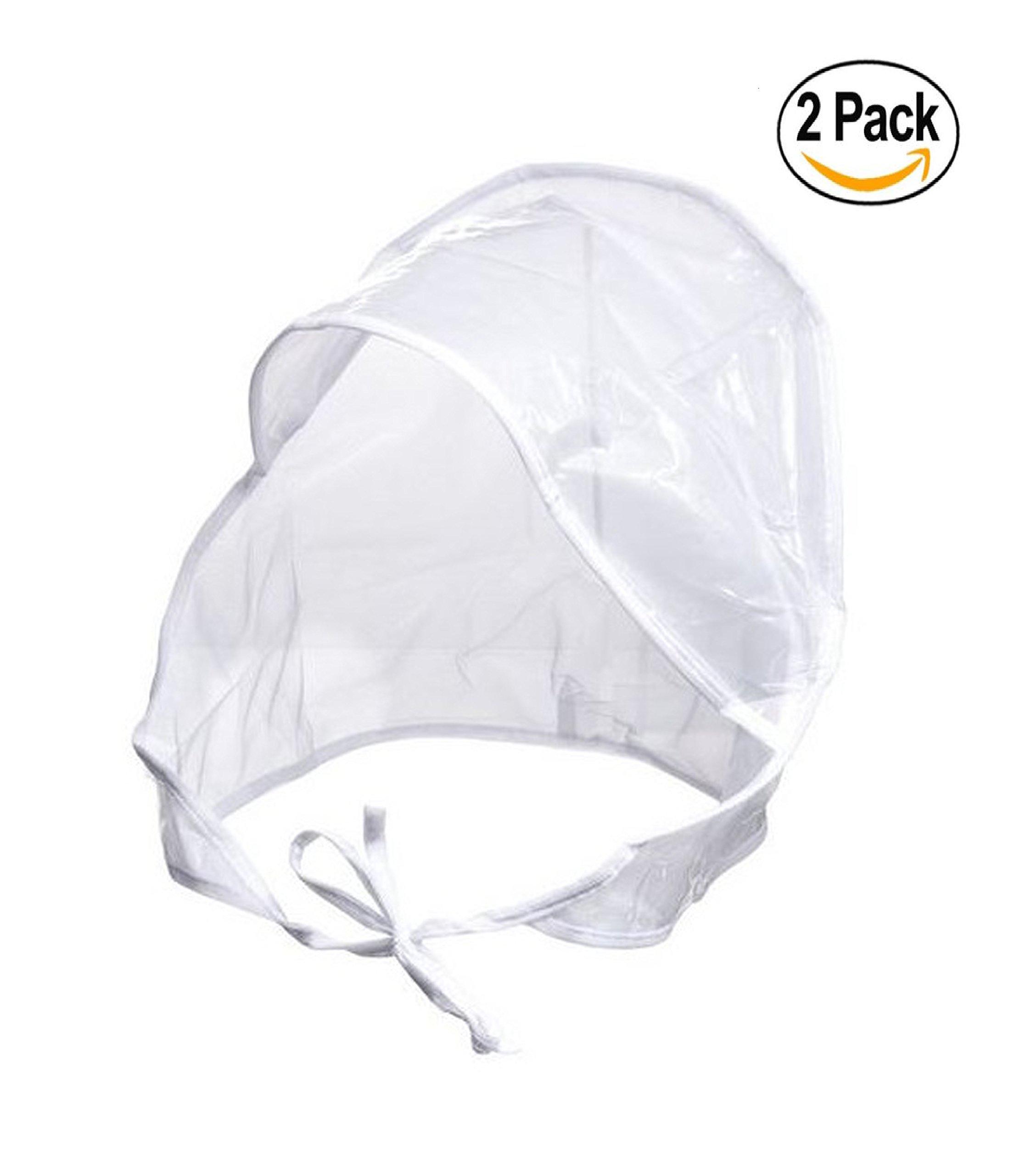 Fit Rite Women's Rain Bonnet with Full Cut Visor & Netting - 2 Pack - White