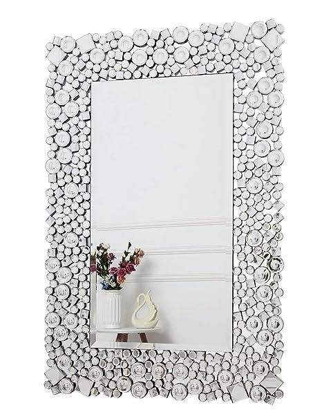 RICHTOP Specchio da Parete - Specchio Rettangolare da Parete in Cristallo  Gioiello Mosaico per Soggiorno, Camera da Letto, specchiera (60cm x 90cm)