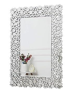 Gentil RICHTOP Miroir Murale Grand Rectangulaire Moderne Bois Noir Design Avec  Cristal Scintillant, Miroirs Decoration Fixé
