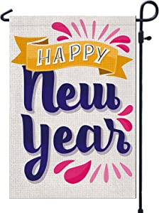 PAMBO Happy New Year Garden Flags for Outside Burlap 12x18 Double Sided Garden Flag for Yard Outdoor Decoration