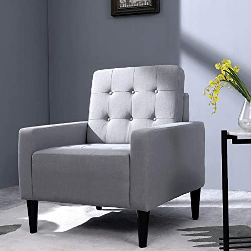 Top Space Accent Chair Living Room Chair Arm Chairs Single Sofa Upholstered Gray Comfy Fabric Mid-Century Modern Furniture