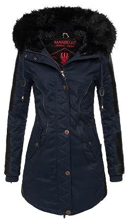 Marikoo Designer Damen Winter Parka warme Winterjacke Mantel Jacke B372   B372-Larissa-Blau a598786802