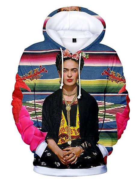 SIMYJOY Frida Kahlo Chaqueta 3D Unisex Impreso Sudaderas con Capucha Estampado de Artista del Artista Mexicano Rockabilly Streetwear Capucha de Verano ...