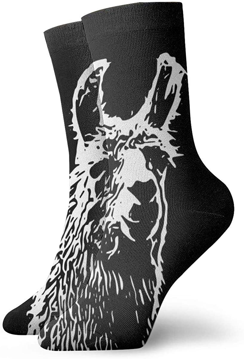 Personalized Crew Socks With Abstract Llama Outline Art Print For Women Men