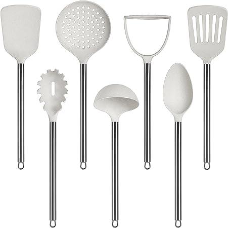 Accessori cucina Mestolo Forato con manico in plastica Bianco