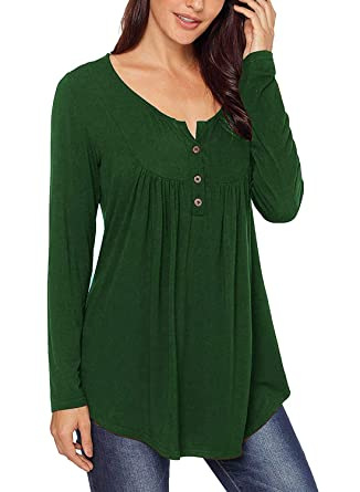c2aef455c Women Shirts Blouses Long Sleeve Casual Maternity Tops Buttons Up Dark  Green S