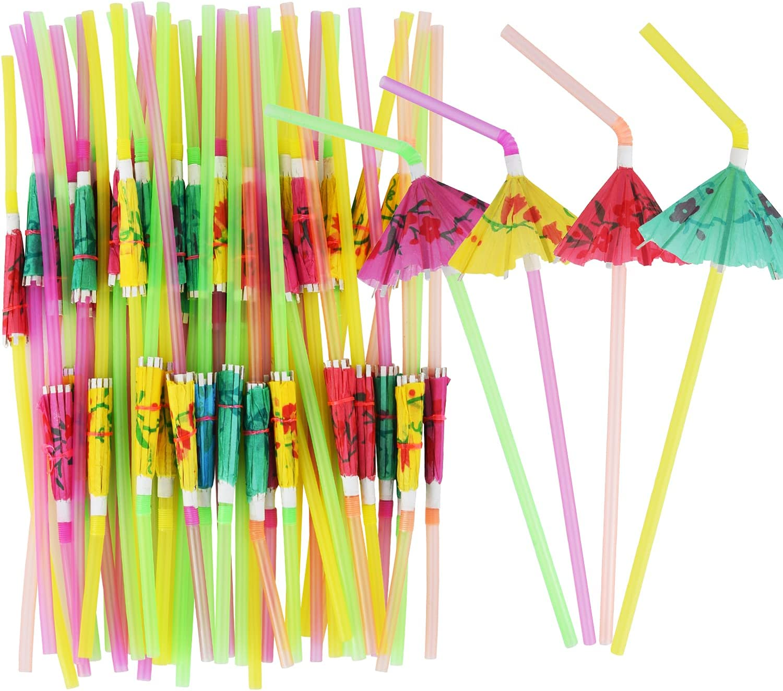 NINU 100-Pack Umbrella Straws,Cocktail Parasol Straws For Luau Party Hawaiian Party Tiki Party Margarita Party Decorations Supplies