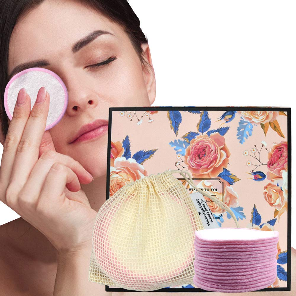 Reusable cotton rounds(16 Pack)3.15 inchOrganic cotton pads Bamboo makeup remover pads,Soft for