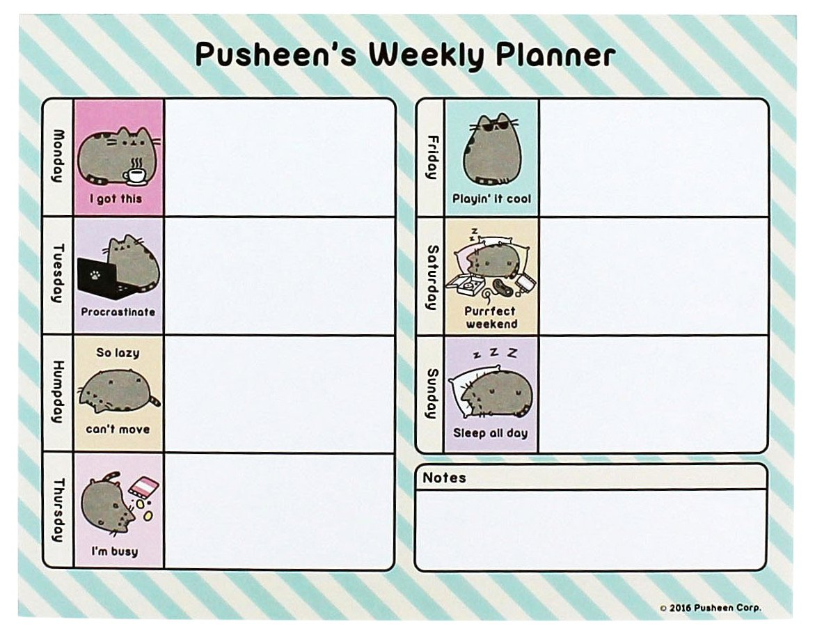 Pusheen Official the Cat Weekly Planner Novelty Stationery