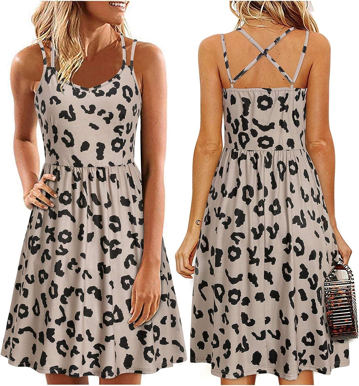 ULTRANICE Womens Summer Floral Sleeveless Adjustable Spaghetti Backless Short Dress