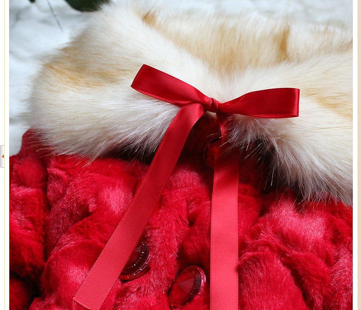 9b7a55dd50b2 Amazon.com  SOPO Girls Cute Faux Fur Collar Fleece Jackets   Fur Red ...
