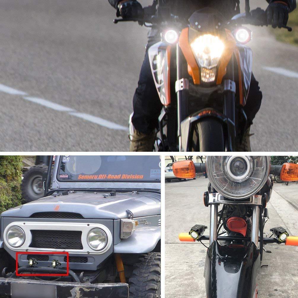 10W 3000LM Phare LED Moto Feux Additionnels Avant CREE LED Phares de Travail Projecteur dinondation Lumi/ères 12V Paquet de 2