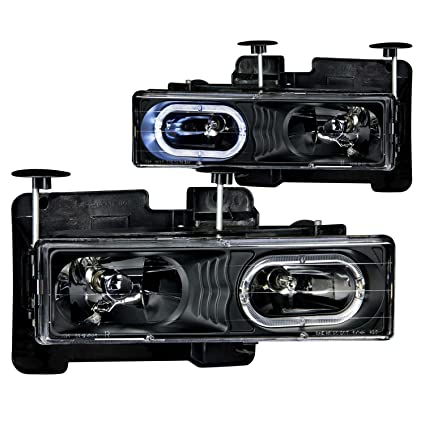 1995-1999 Chevy Tahoe Euro Clear Headlights Halo Rim + 8 Led Fog Bumper Light