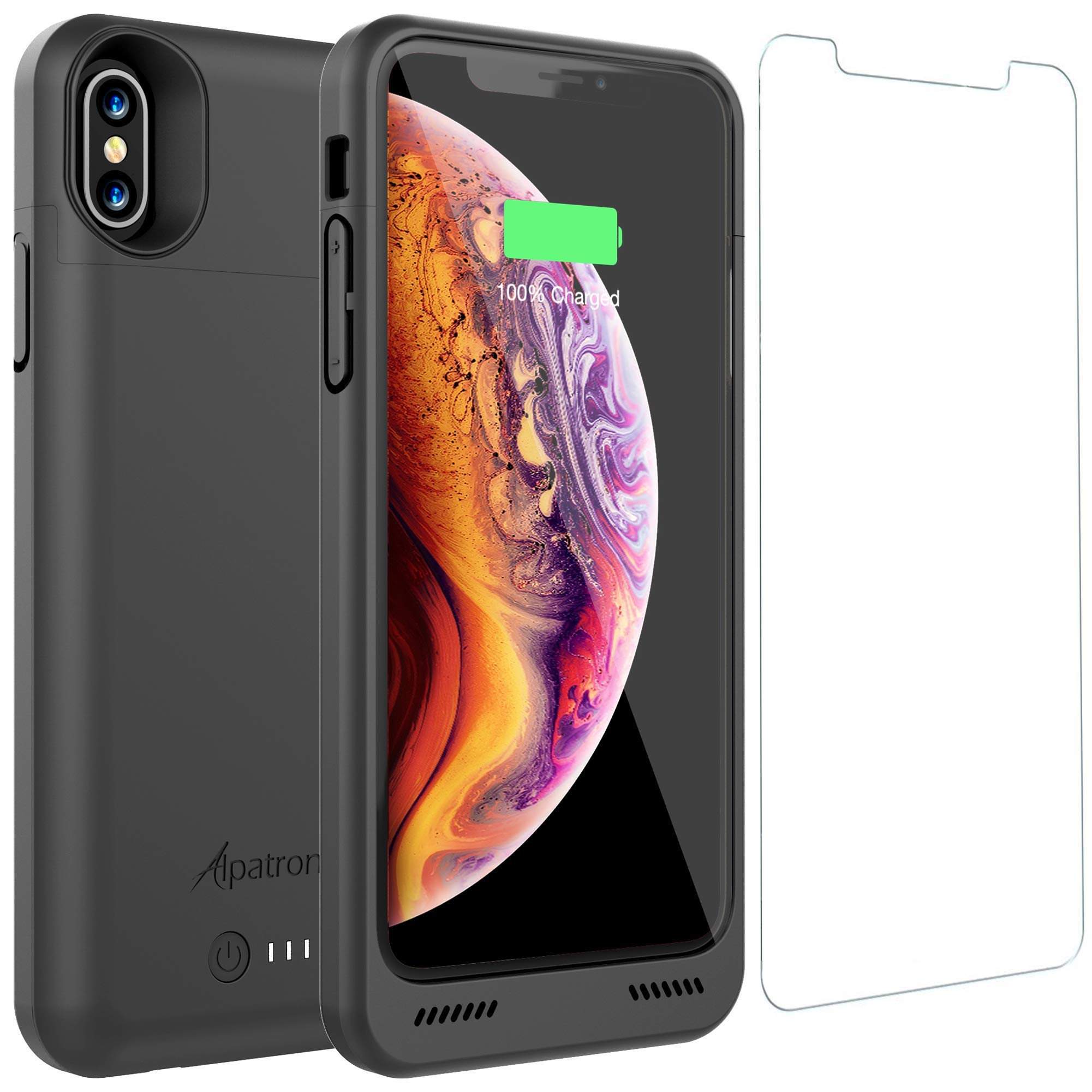 iPhone Xs/X Battery Case, Alpatronix BXXs 4200mAh Qi Compatible Wireless Portable Power Bank and iPhone Xs Slim Charger, 50% Faster Charging Battery Pack, Original iPhone Lightning Chip - Black