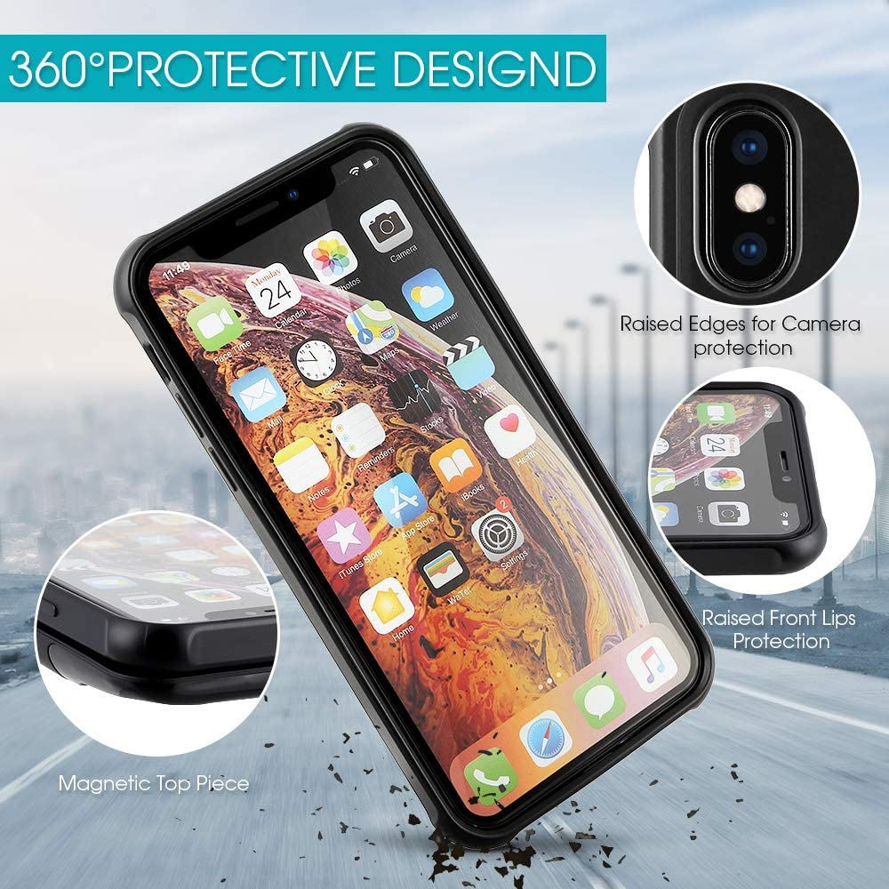 Black Mbuynow Wireless Battery Case for iPhone X//XS 5000mAH Portable Qi Wireless Charging Case 2 in1 Magnetic External Rechargeable Charger Case Protective Power Case for iPhone X//XS