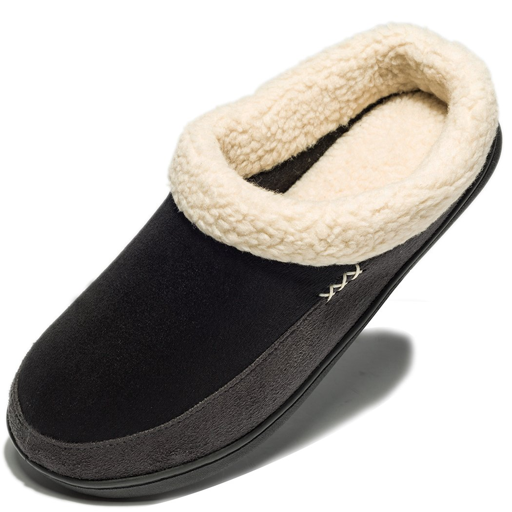 NDB Mens Warm Memory Foam Suede Plush Shearling Lined Slip on Indoor Outdoor Clog House Slippers