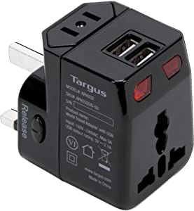 Targus World Travel Power Adapter with Dual USB Charging Ports for Laptop, Phone, Tablet, or Other Mobile Device (APK032US)