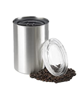 Airscape Coffee and Food Storage Canister, 64 oz or 1 LB of Dry Beans - Patented Airtight Lid Preserves Food Freshness - Stainless Steel - Brushed Steel