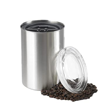 Airscape Coffee and Food Storage Canister, 64 oz - Patented Airtight Lid Preserves Food Freshness - Stainless Steel - Brushed Steel
