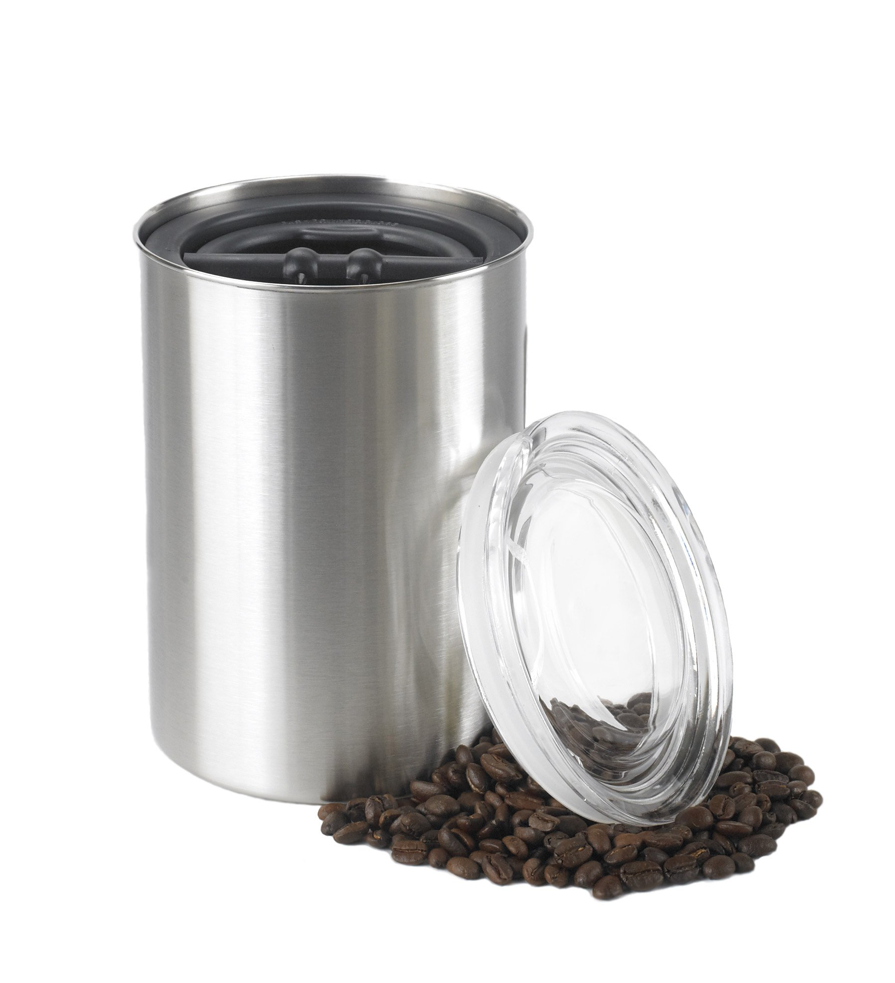 Planetary Design Airscape Coffee Storage Canister (1 lb Dry Beans) - Patented Airtight Lid Pushes Air Out to Preserve Food Freshness - Stainless Steel Food Container - Brushed Steel by Planetary Design (Image #1)