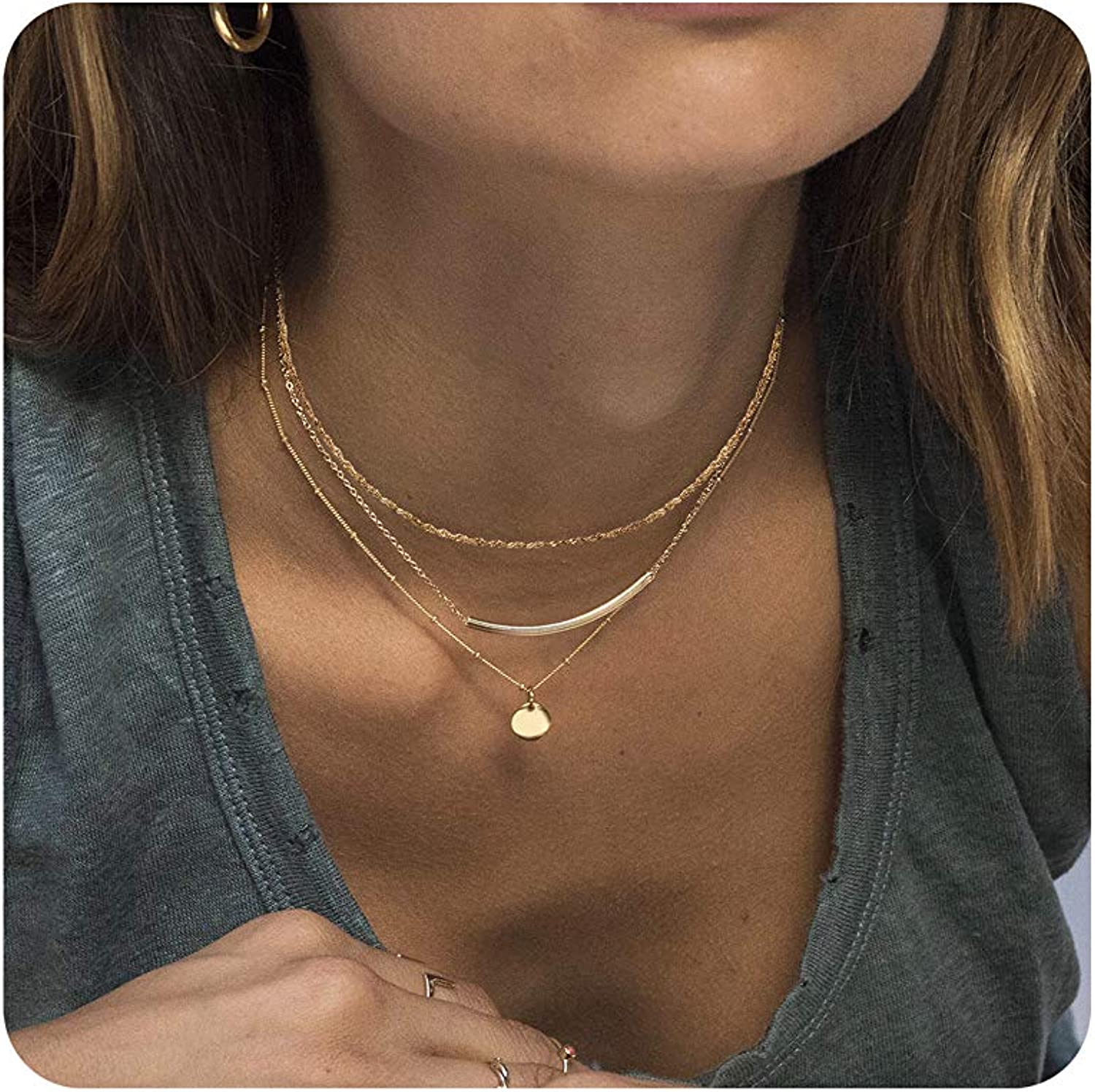 So Pretty Dainty Layered Choker Necklaces Handmade Coin Tube Star Pearl Pendant Multilayer Adjustable Layering Chain Gold Plated Necklaces Set for Women Girls