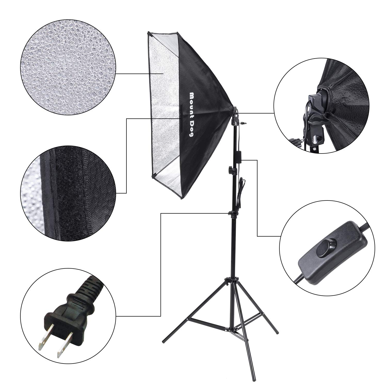 MOUNTDOG 1350W Photography Softbox Lighting Kit 20''X28'' Professional Continuous Light System with 3pcs E27 Video Bulbs 5500K Photo Studio Equipment for Filming Model Portraits Advertising Shooting by MOUNTDOG (Image #6)