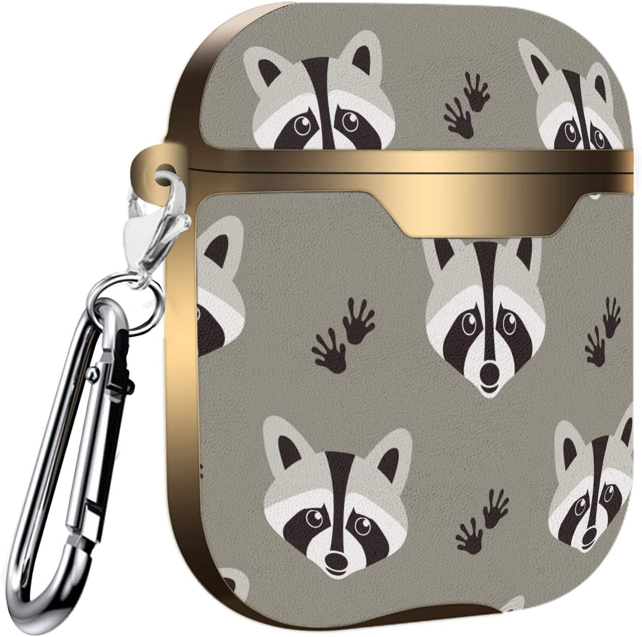 Raccoon Pattern in Flat Graphics Slim Form Fitted Printing Pattern Cover Case with Carabiner Compatible with Airpods 1 and AirPods 2