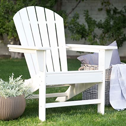Bon All Weather Resin Classic Adirondack Chair In White Finish 31W X 33.75D X  38.5H