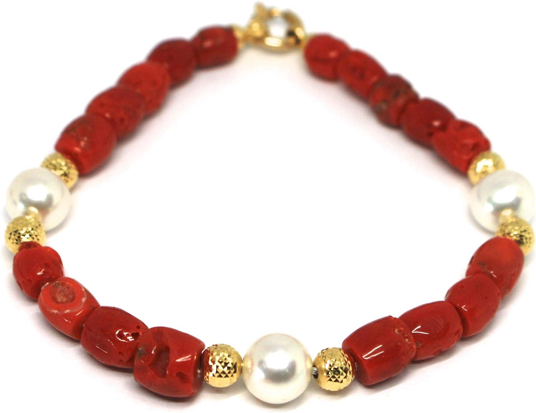 Desconocido Generico - Pulsera de Oro Amarillo de 18 K 750, Coral Rojo, Perlas Blancas, Bolas talladas con Diamantes