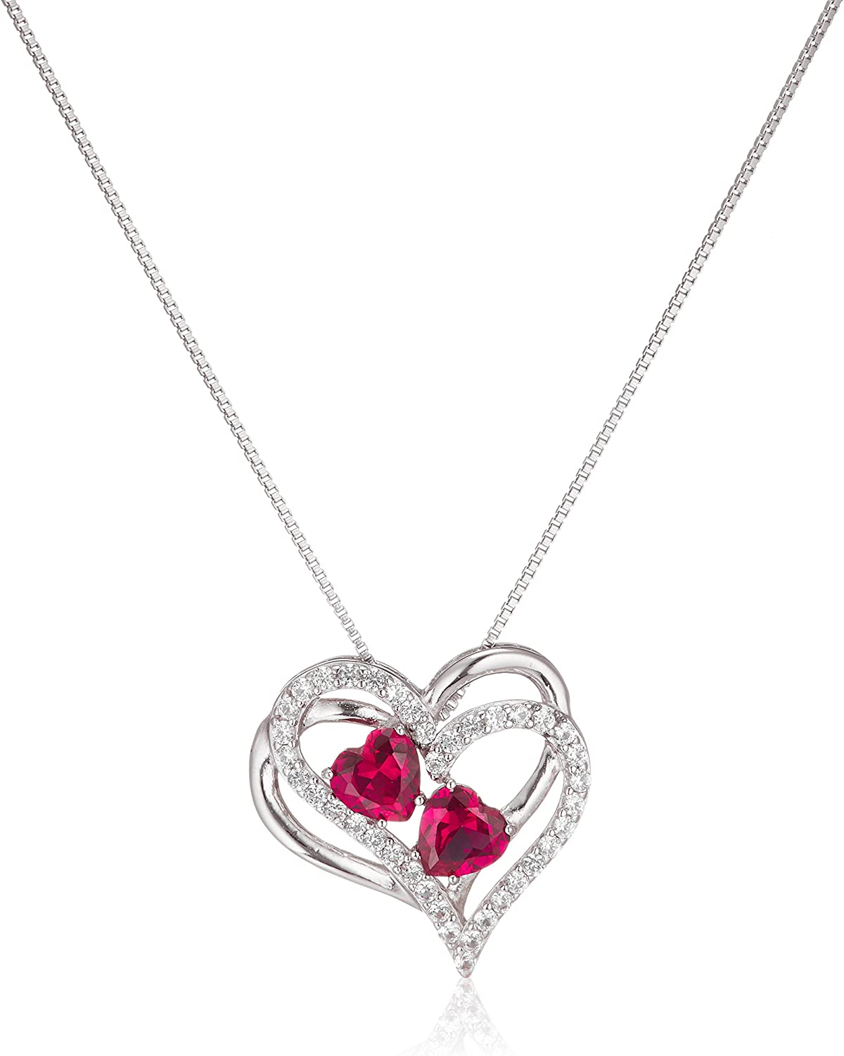 Sterling Silver Created Ruby and White Sapphire Double Heart Pendant Necklace, 18""