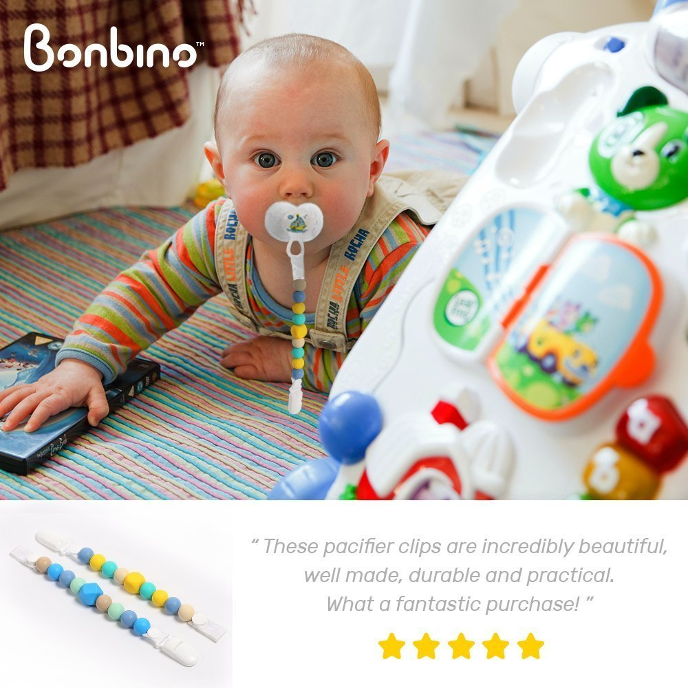 Teether Pacifier Clips - (2 Pack) Silicone Pacifier Holders for MAM, Nuk & Soothie - Fun, Colorful and BPA-Free - Boys Pacifier Holder (Sea Blue + Turquoise Lemon) by Bonbino (Image #6)