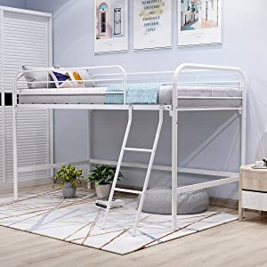 JURMERRY Metal Loft Twin Bed with Sturdy Steel Frame, High Sleeper Multipurpose Use Full-Length Guardrails & One Integrated Ladders Space- with Strong Board Slats, White