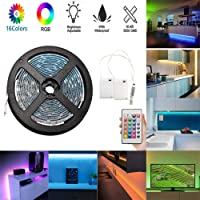 LED Strip Lights, Flexible 5M / 16.4ft TV Backlight,Battery Powered Waterproof RGB LED Rope Lights with 24 Keys Remote & 2 Battery Power Supply Box for Kitchen, Bedroom, Cabinet, Mirror