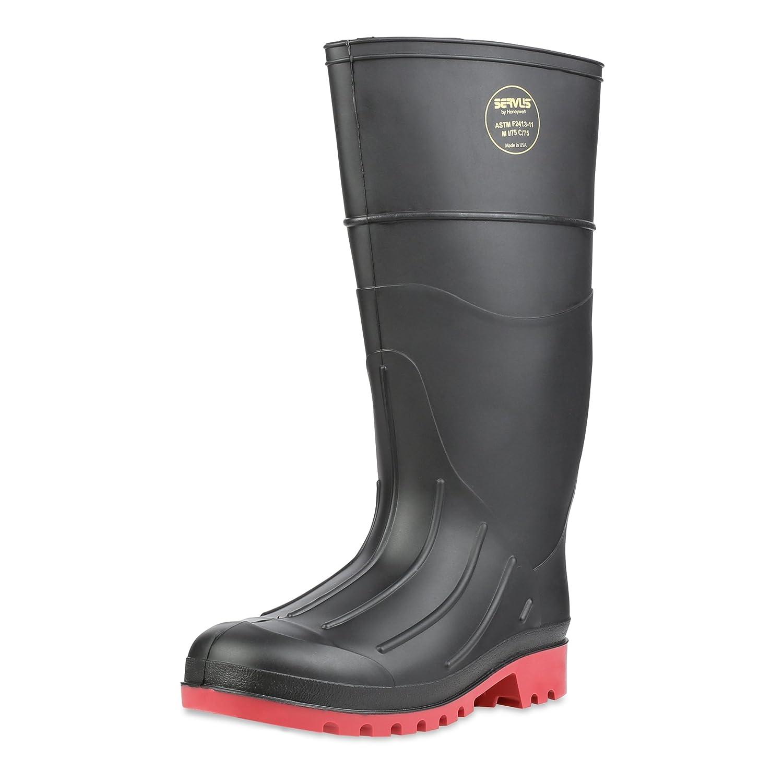 Servus 15 PVC Polyblend Steel Toe Men's Work Boots, Black & Red (73505) Sperian Protection Group 73505-BLM-090