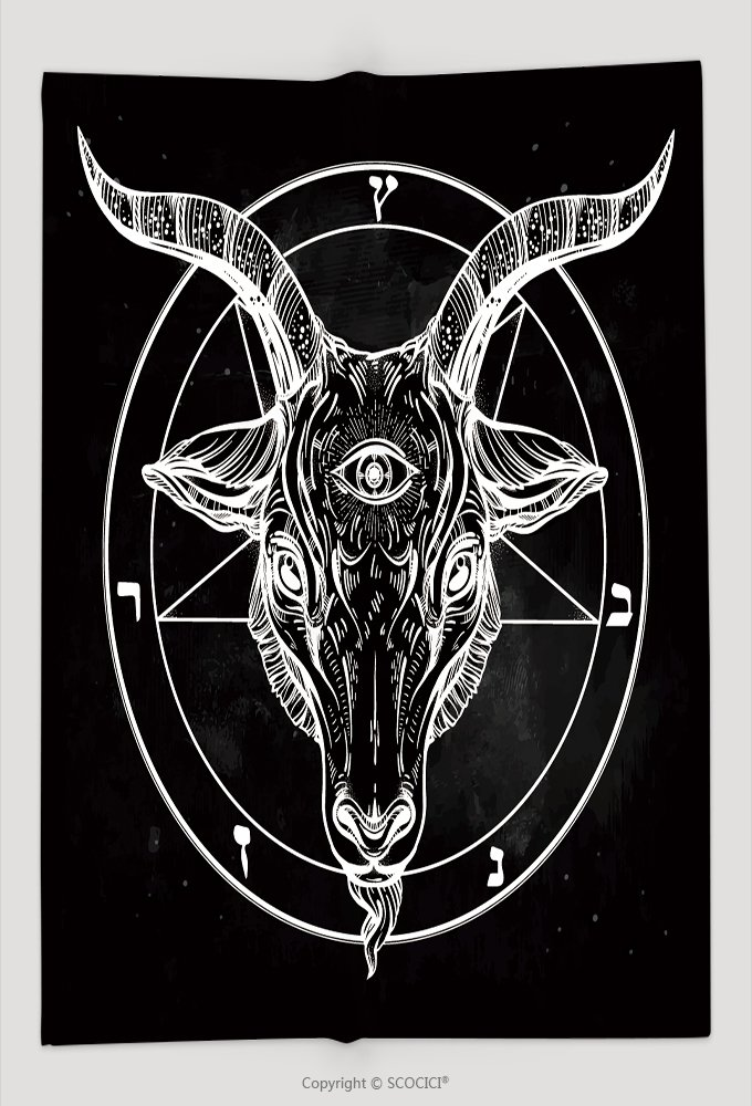 Custom Throw Blanket Pentagram With Demon Baphomet Satanic Goat Head With Third Eye Binary Satanic Symbol Vector 533043418 and Comfortable by vanfan