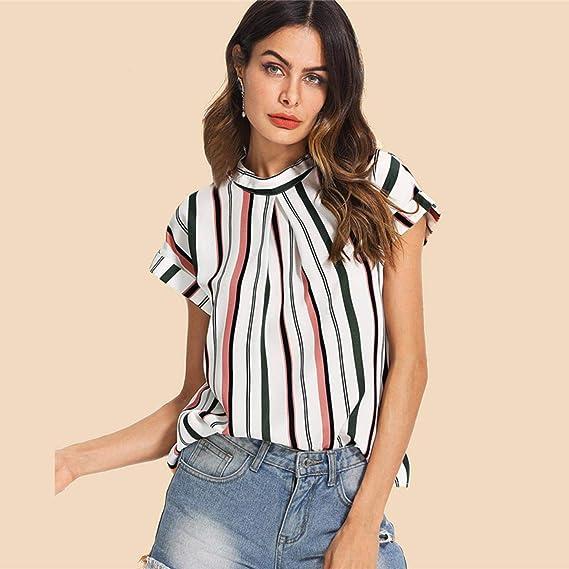 IIJD - Camisa de Oficina para Mujer, diseño de Rayas, Plisada ...