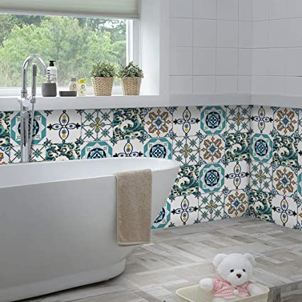 Yoillione Upgraded Thick Bathroom Tile Decals Stickers Self Adhesive Kitchen Tile Stickers Waterproof Tile Transfers 8x8 Peel And Stick Tiles Vinyl Backsplash Decorative Amazon Co Uk Kitchen Home