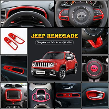 Lifted Jeep Renegade >> Jecar Renegade Full Set Interior Decoration Trim Kit Steering Wheel Cover Dashboard Window Lift Button Hand Brake Decoration Cover For Jeep Renegade