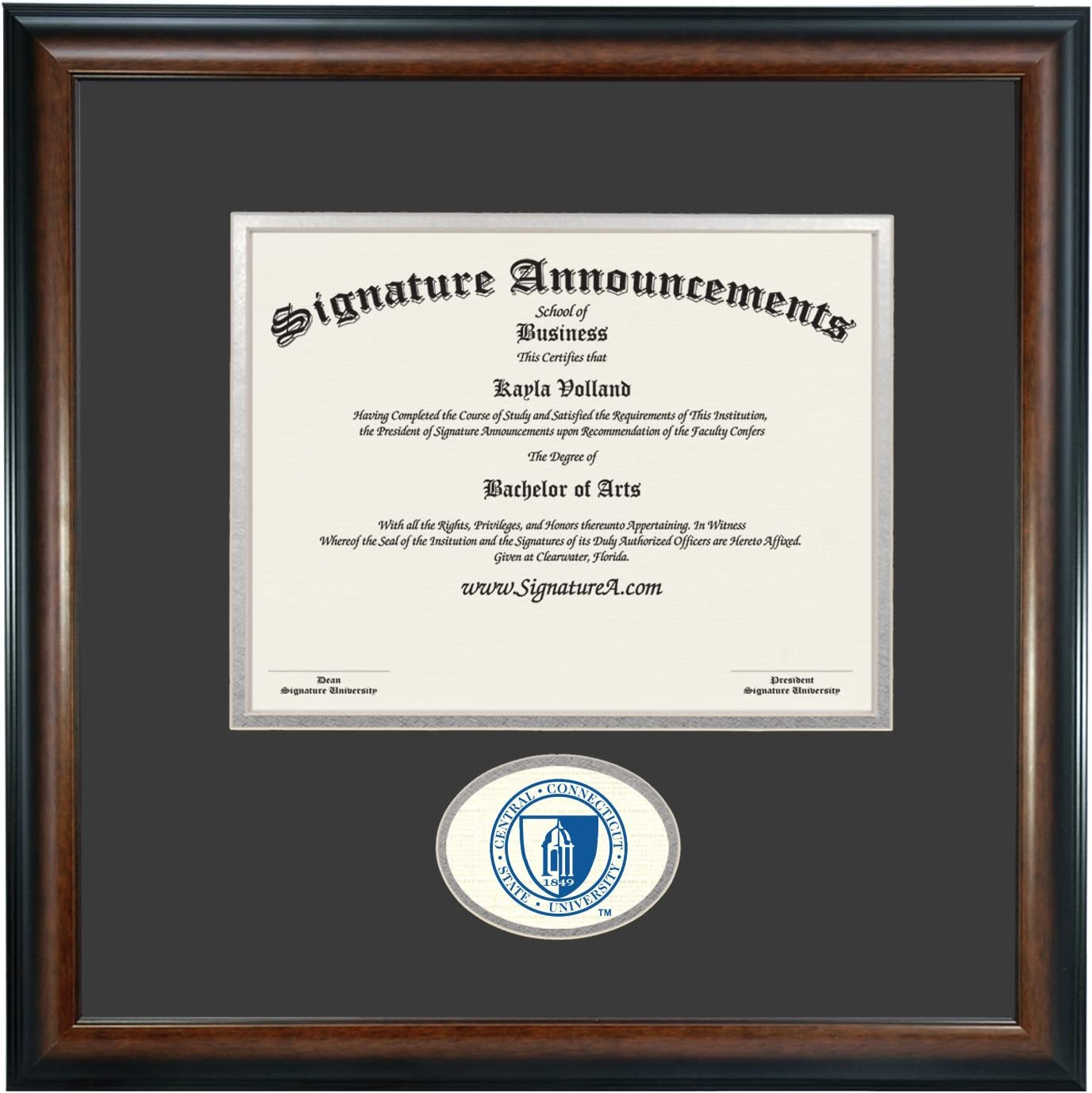 Signature Announcements Central Connecticut State University Undergraduate Sculpted Foil Seal Graduation Diploma Frame Matte Mahogany 16 x 16