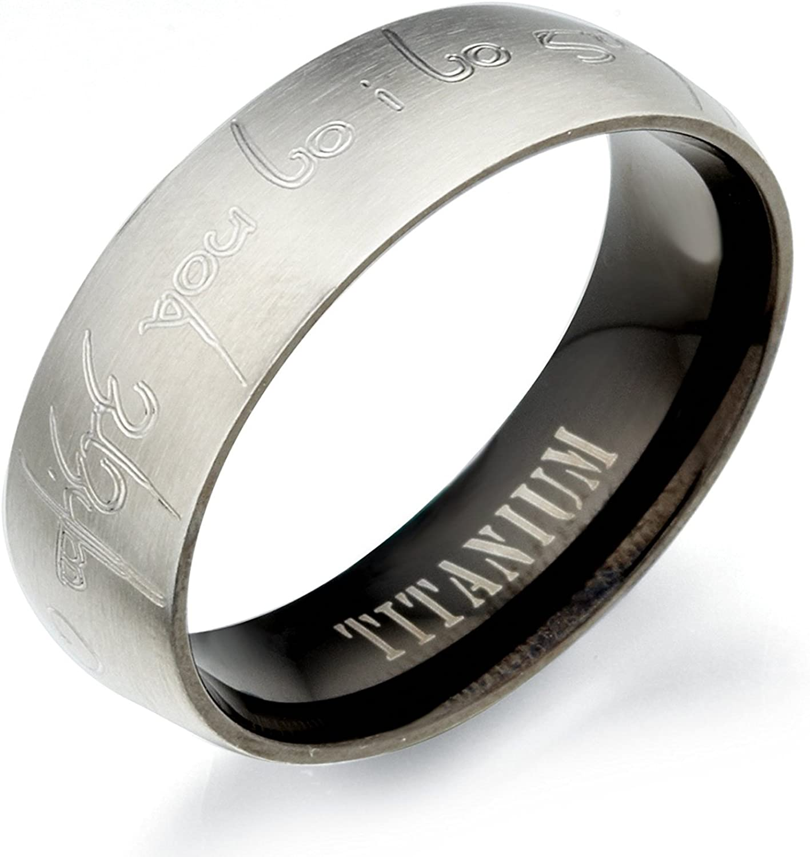 10 Women Ring Size 6.5 Gemini Groom /& Bride Plain Flat Comfort Fit Black Matching Titanium Wedding Rings Set 6mm /& 4mm Width Men Ring Size