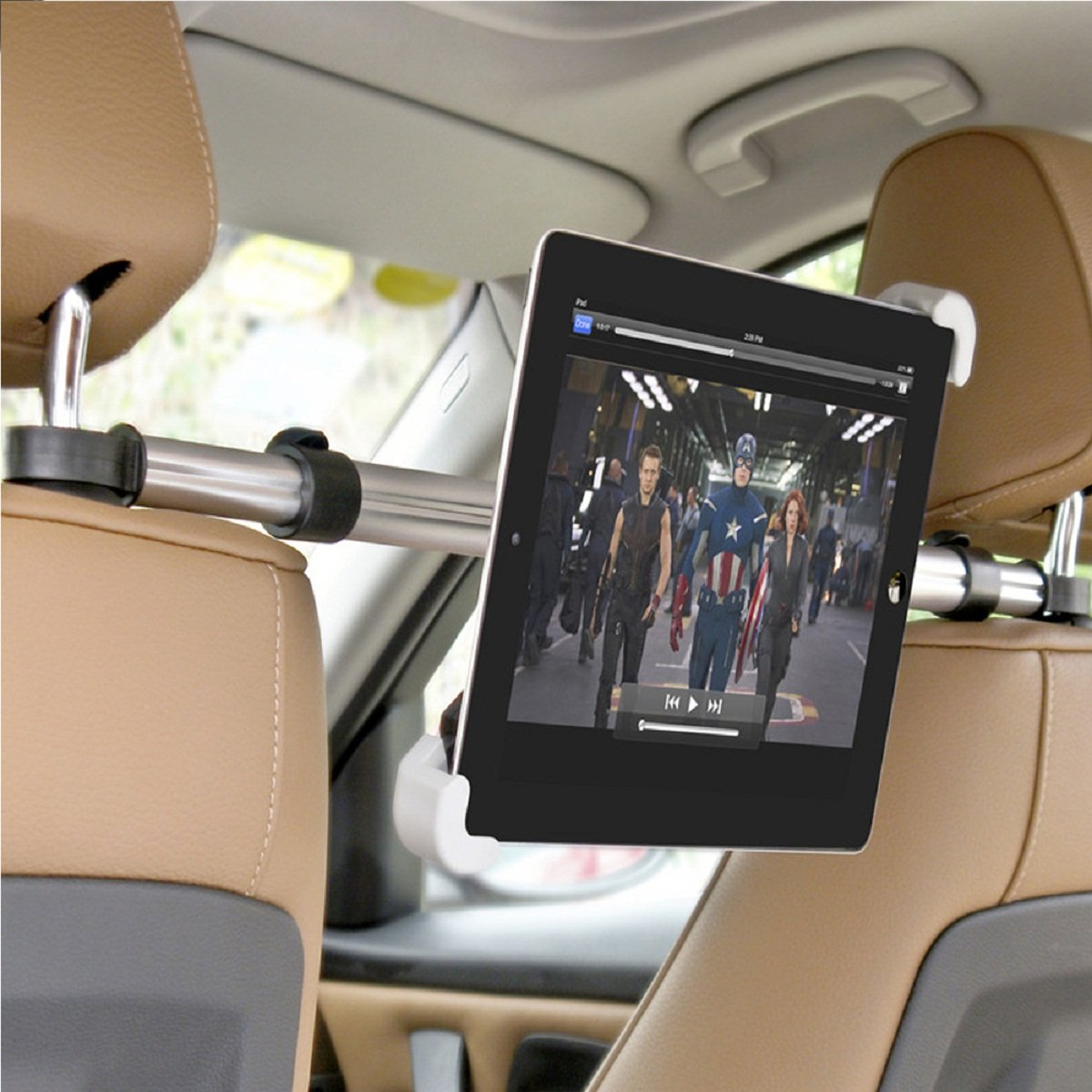 Amazon.com: Megadream Universal 360 Degree Rotation In Car Adjustable Headrests ABS Mount Holder with Aluminum Pole for 7 to 11 inch Tablet PC iPad, Asus, ...
