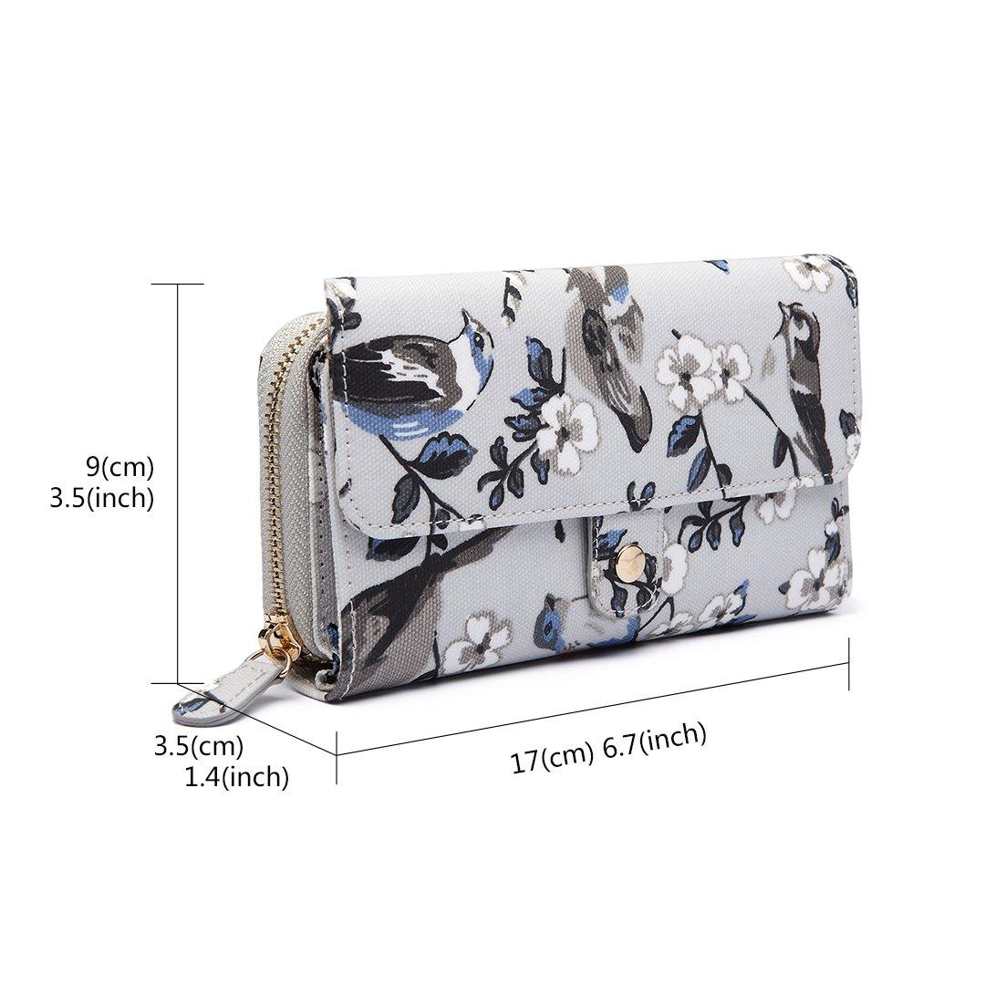 Miss Lulu Ladies Grey Bird Flower Handbag Cross Body Messegner Satchel Bag Purse Baby Changing Bag
