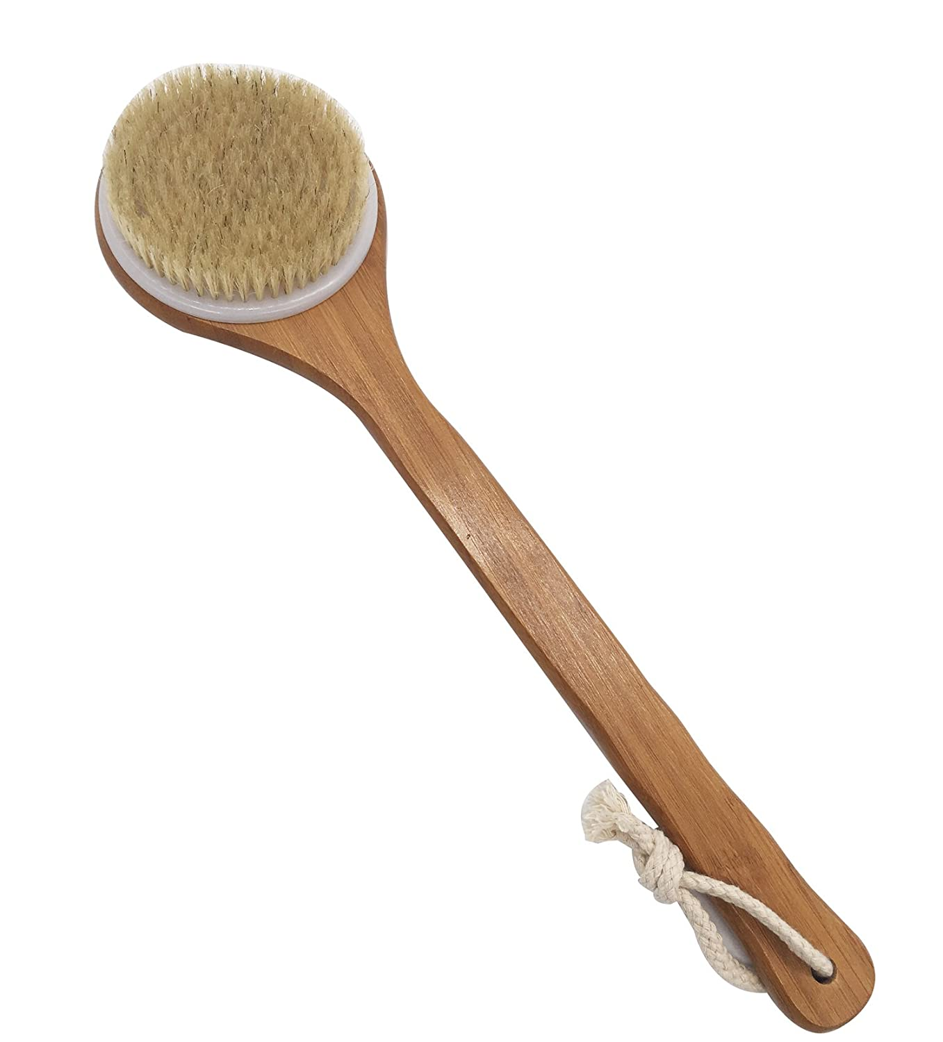 Bath Brush with Long Bamboo Handle - Natural Bristle Back Scrubber for Exfoliating Skin, Improve Circulation and Shower Brush for Skin Health - Wet Or Dry Body Brushing KOOTIPS Kootips-1-4123