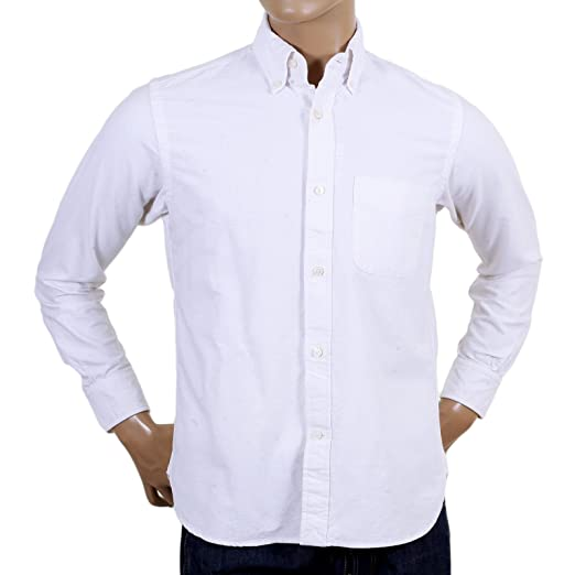 Sugar Cane Made In Usa White Oxford Shirt In White Cane4446 At